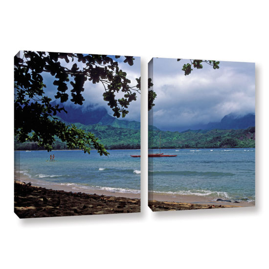 Brushstone Red Canoe On Hanalei Bay 2-pc. GalleryWrapped Canvas Wall Art