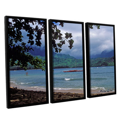 Brushstone Red Canoe On Hanalei Bay 3-pc. FloaterFramed Canvas Wall Art