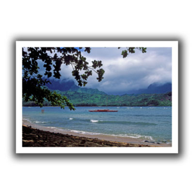 Brushstone Red Canoe On Hanalei Bay Canvas Wall Art