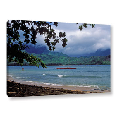 Brushstone Red Canoe On Hanalei Bay Gallery Wrapped Canvas Wall Art