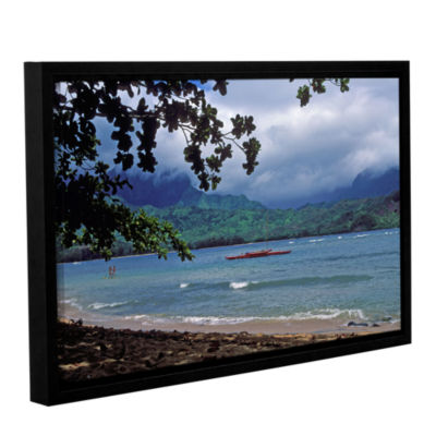 Brushstone Red Canoe On Hanalei Bay Gallery Wrapped Floater-Framed Canvas Wall Art
