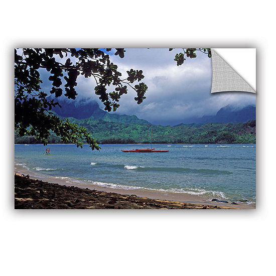 Brushstone Red Canoe On Hanalei Bay Removable WallDecal