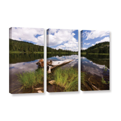 Brushstone Reflection Lake Mt Rainier 3-pc. Gallery Wrapped Canvas Wall Art