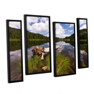 Brushstone Reflection Lake Mt Rainier 4-pc. Floater Framed Staggered Canvas Wall Art