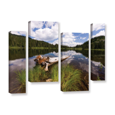 Brushstone Reflection Lake Mt Rainier 4-pc. Gallery Wrapped Staggered Canvas Wall Art