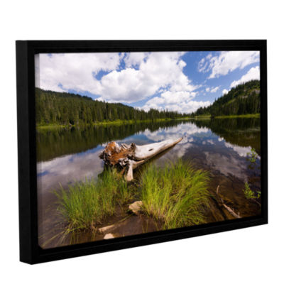 Brushstone Reflection Lake Mt Rainier Gallery Wrapped Floater-Framed Canvas Wall Art