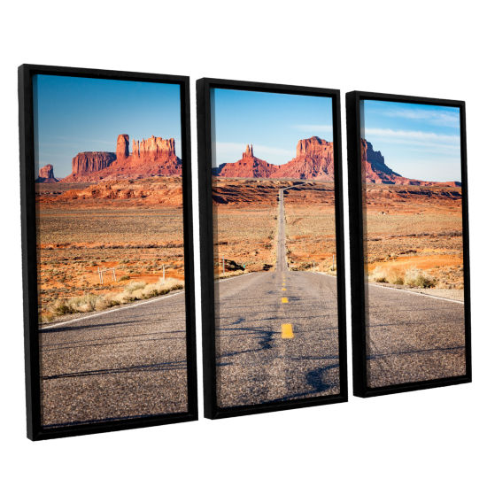Brushstone Road To Monument Valley 3-pc. Floater Framed Canvas Wall Art
