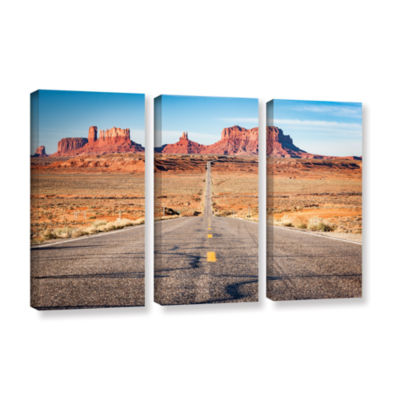 Brushstone Road To Monument Valley 3-pc. Gallery Wrapped Canvas Wall Art