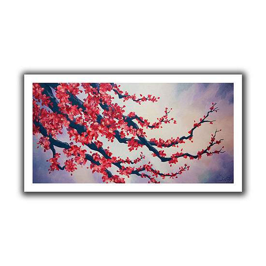 Brushstone Red Cherry Blossom Canvas Wall Art