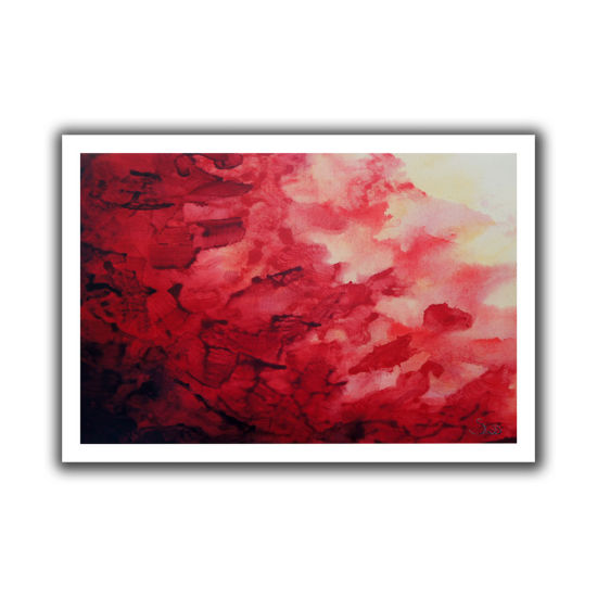 Brushstone Red Watery Abstract Canvas Wall Art