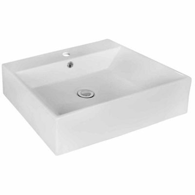 American Imaginations 20.5-in. W Above Counter White Vessel Set For 1 Hole Center Faucet