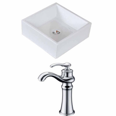 American Imaginations 14.75-in. W Above Counter White Vessel Set For Deck Mount Drilling - Faucet Included