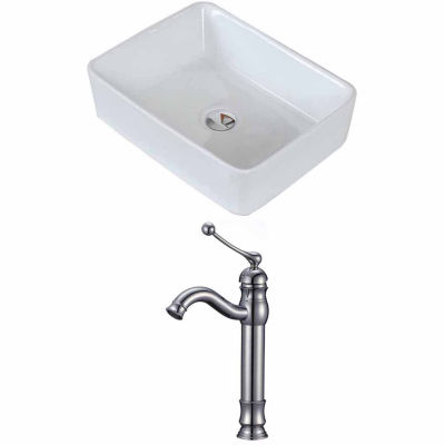 American Imaginations 18.75-in. W Above Counter White Vessel Set For Deck Mount Drilling - Faucet Included