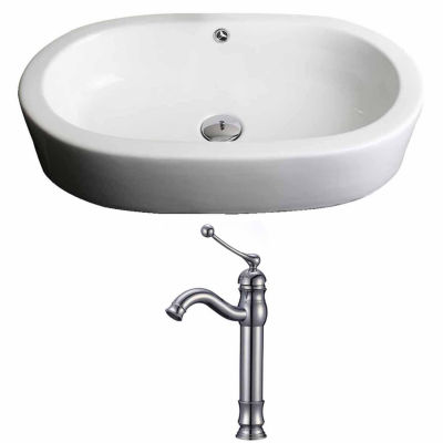 American Imaginations 25.25-in. W Semi-Recessed White Vessel Set For Deck Mount Drilling - Faucet Included