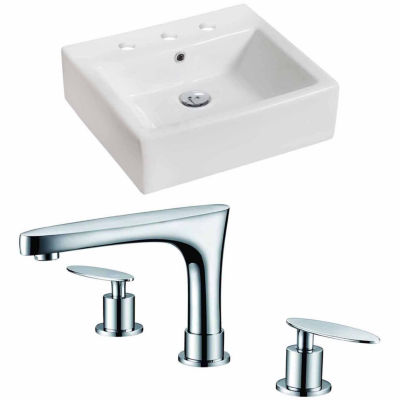 American Imaginations 21-in. W Above Counter White Vessel Set For 3H8-in. Center Faucet - Faucet Included