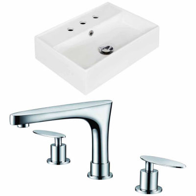 American Imaginations 19.75-in. W Wall Mount WhiteVessel Set For 3H8-in. Center Faucet - Faucet Included