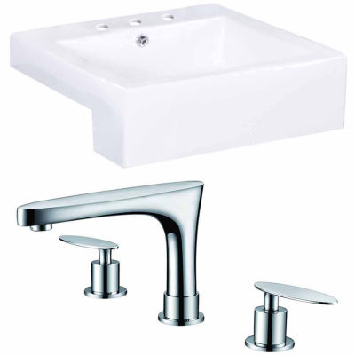 American Imaginations 20.25-in. W Semi-Recessed White Vessel Set For 3H8-in. Center Faucet - FaucetIncluded