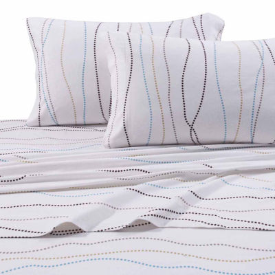 Tribeca Living Dot Printed Flannel Sheet Set