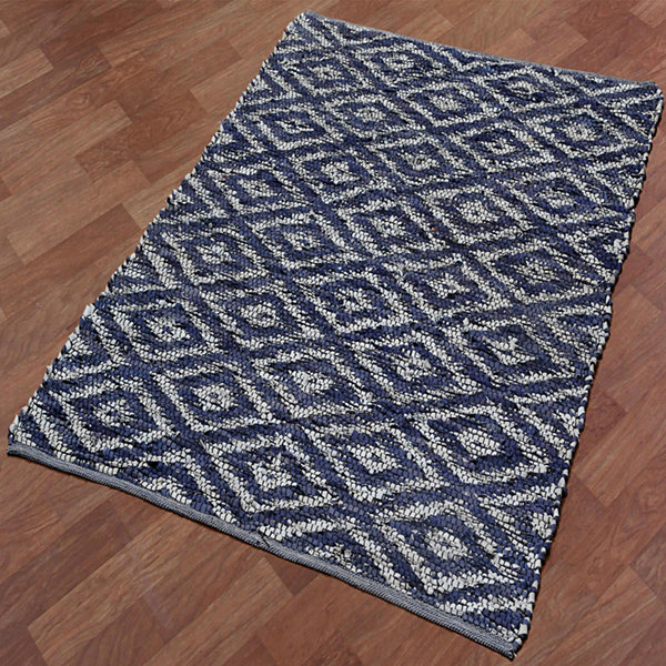 St. Croix Trading Diamonds Leather Chindi Rug Rectangular Rugs