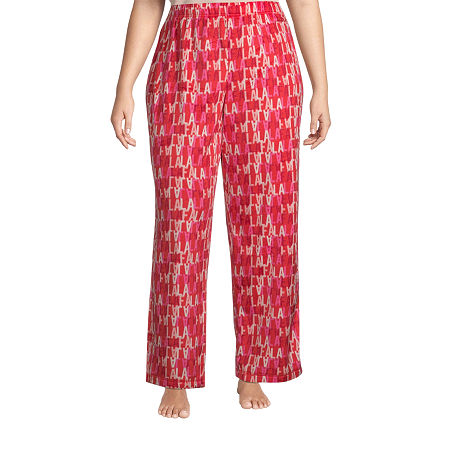 Sleep Chic Womens-Plus Fleece Pajama Pants, 1x , Red