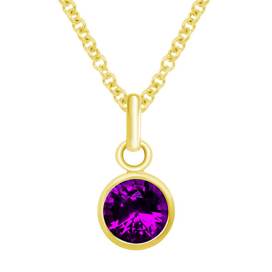 Itsy Bitsy Amethyst 14K Gold Over Silver 18 Inch Cable Pendant Necklace