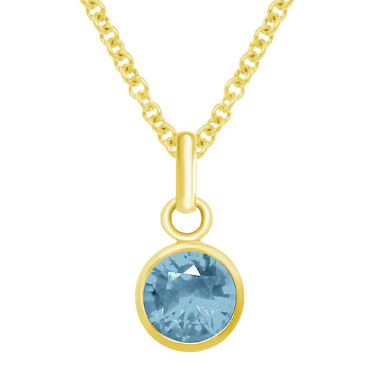 Itsy Bitsy Aquamarine 14K Gold Over Silver 18 Inch Cable Pendant Necklace
