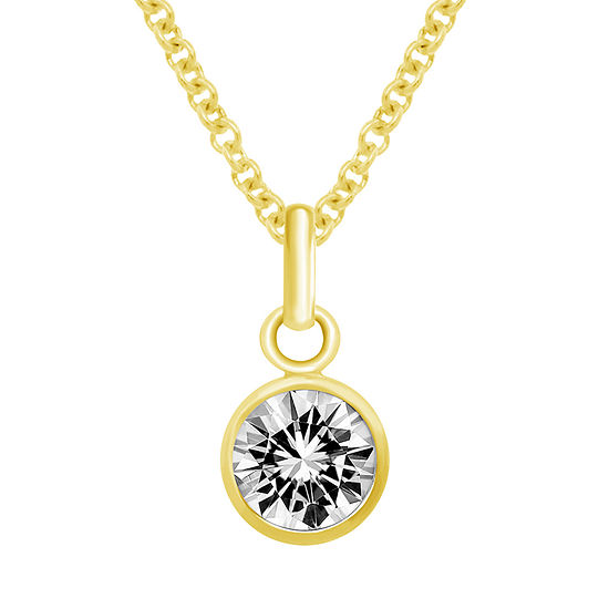 Itsy Bitsy Crystal 14K Gold Over Silver 18 Inch Cable Pendant Necklace