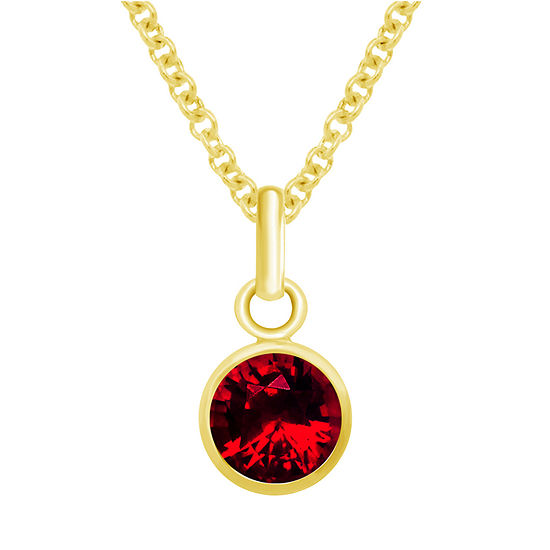 Itsy Bitsy Ruby 14K Gold Over Silver 18 Inch Cable Pendant Necklace