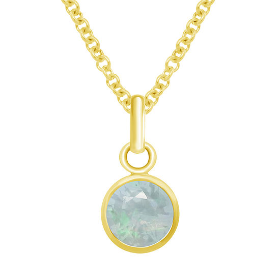 Itsy Bitsy Opal 14K Gold Over Silver 18 Inch Cable Pendant Necklace