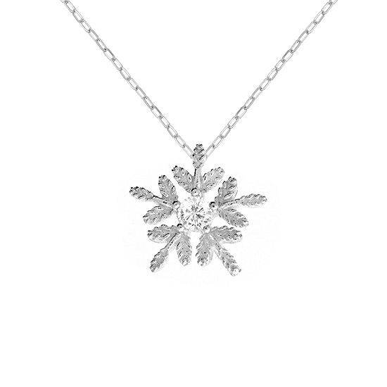 Itsy Bitsy Cubic Zirconia Sterling Silver 18 Inch Cable Snowflake Pendant Necklace