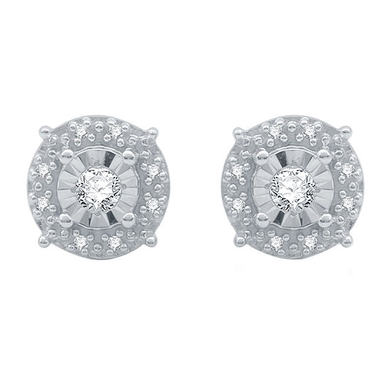 1/10 CT. T.W. Genuine White Diamond Sterling Silver 7.4mm Stud Earrings