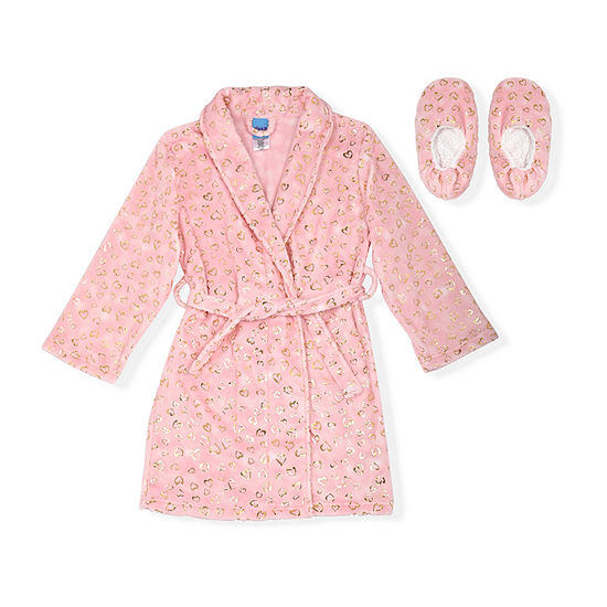 Sleep On It Big Girls Microfleece Long Sleeve Knee Length Robe