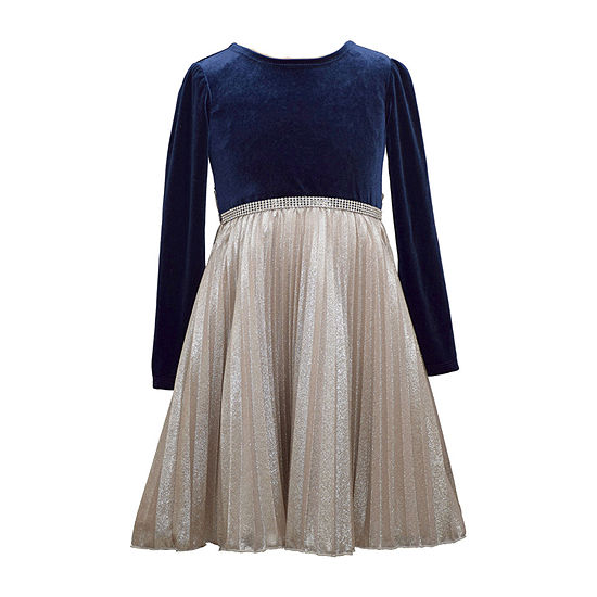 Bonnie Jean Pleated Big Girls Plus Long Sleeve Party Dress