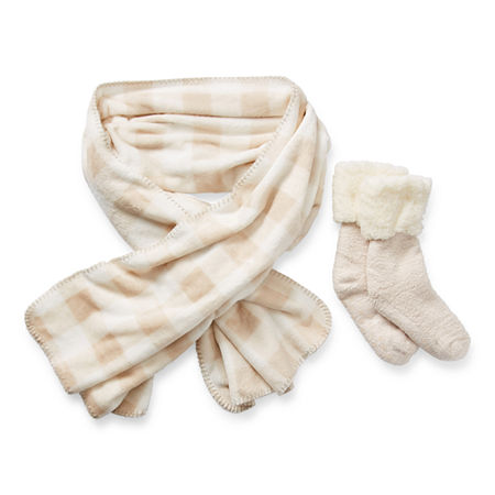 Mixit Wrap And Sock 2-pc. Cold Weather Set, One Size , White