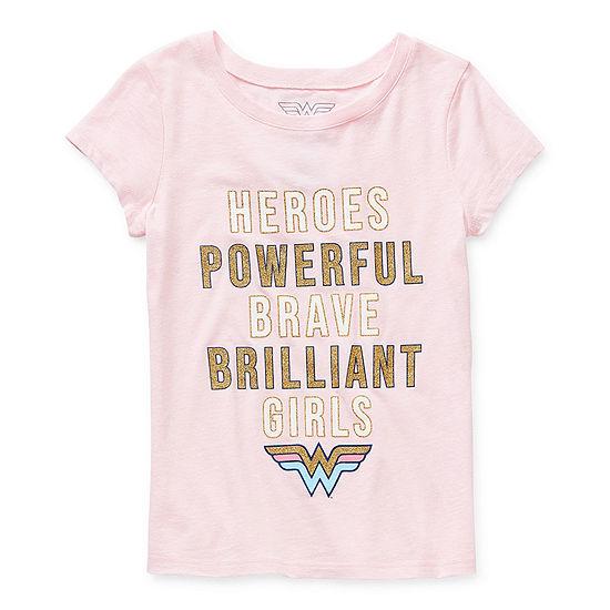 Little & Big Girls Crew Neck Wonder Woman Short Sleeve Graphic T-Shirt