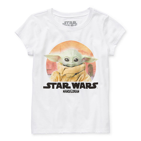 Disney The Child Mandalorian Little & Big Girls Crew Neck Star Wars Short Sleeve Graphic T-Shirt