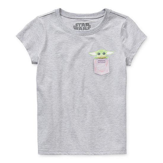 "Disney The Child ""Precious Cargo"" Little & Big Girls Crew Neck Star Wars Short Sleeve Graphic T-Shirt"