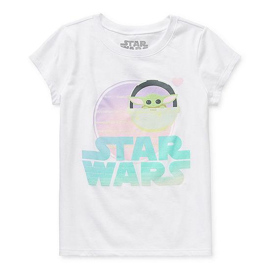Disney The Child Sunset Little & Big Girls Crew Neck Star Wars Short Sleeve Graphic T-Shirt