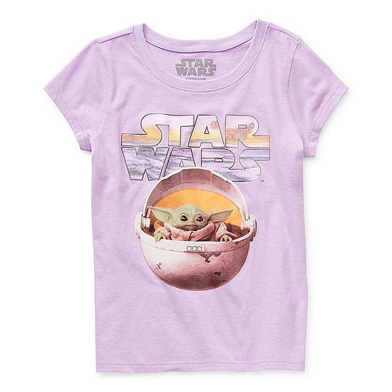 Disney The Child Little & Big Girls Crew Neck Star Wars Short Sleeve Graphic T-Shirt