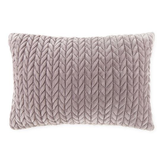 Chevron Faux Mink Lumbar Pillow