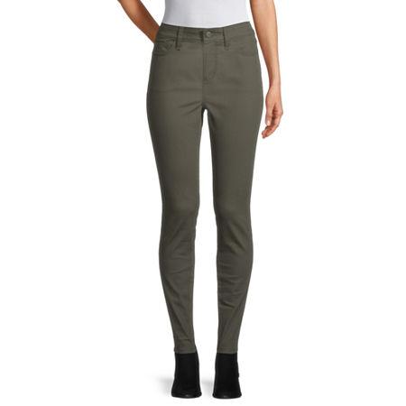 St. John's Bay Womens Mid Rise Skinny Fit Jean, 8 , Green