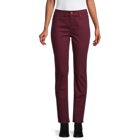 St. John's Bay Womens Mid Rise Stretch Straight Leg Jean, 4 , Red
