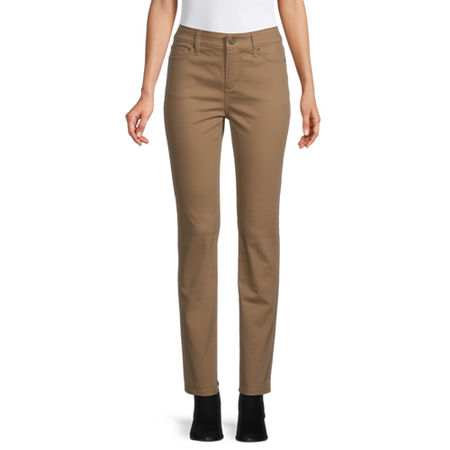 St. John's Bay Womens Mid Rise Stretch Straight Leg Jean, 14 , Beige