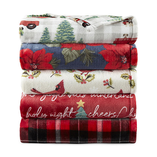 North Pole Trading Co. Holiday Velvet Plush Throw