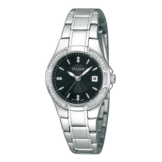 Pulsar® Womens Crystal-Accent Stainless Steel Bracelet Watch PH7293