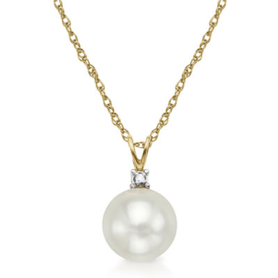 Certified Sofia™ Cultured 6mm Freshwater Pearl & Diamond-Accent Pendant Necklace