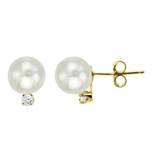 Certified Sofia™ Cultured 7mm Freshwater Pearl & Diamond-Accent Stud Earrings