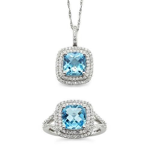 Genuine Blue Topaz & Lab-Created White Sapphire Pendant Necklace & Ring Set