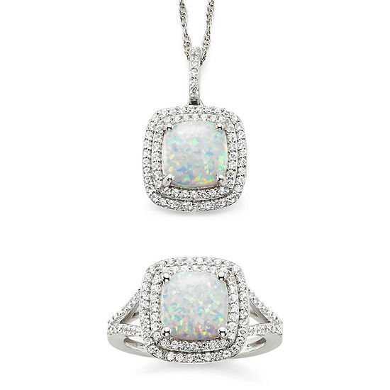 Lab Created Opal Lab Created White Sapphire Sterling Silver 2 Pc Boxed Jewelry Set