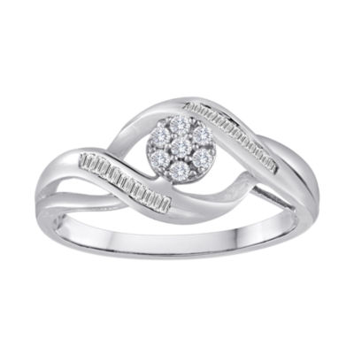 diamond blossom 1/5 CT. T.W. Diamond 10K White Gold Cluster Ring